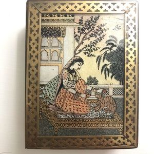 Vintage Wood & Brass Box with Hand Painted Scene